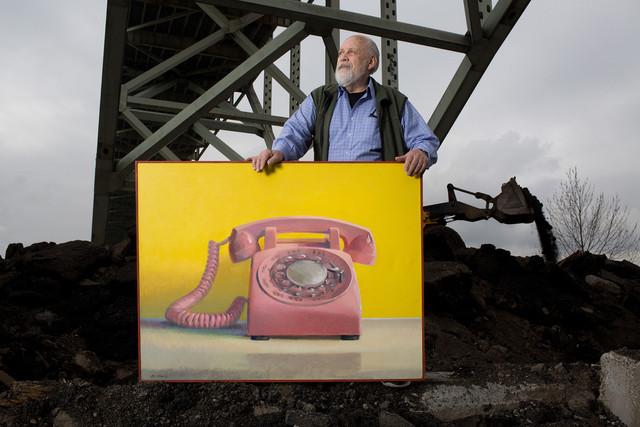 Paul Missal with painting under Freemont Bridge