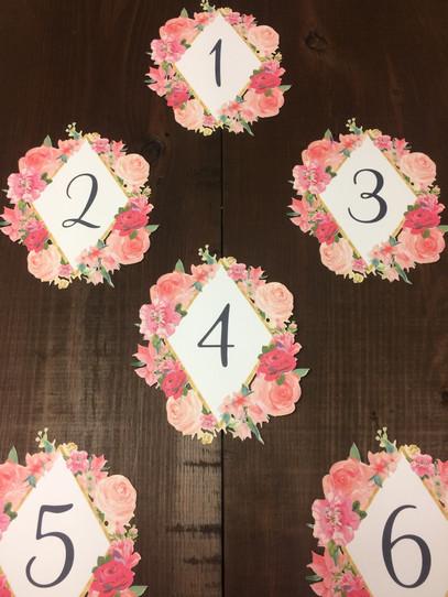 Custom Floral Table Numbers