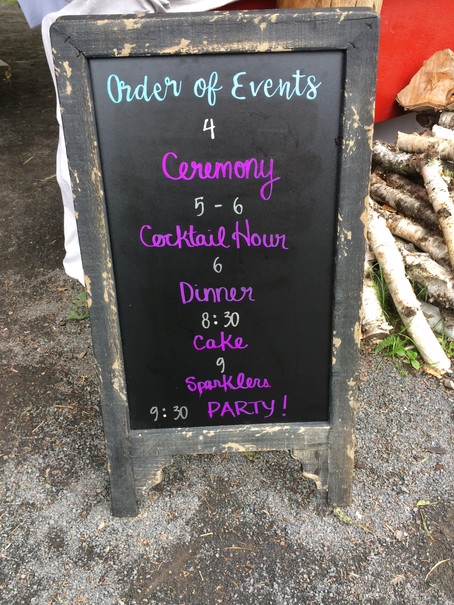 Custom Order of Events Sign