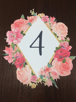 Custom Floral Table Number
