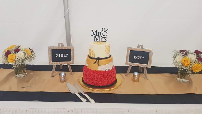 Gender Reveal Wedding Cake!