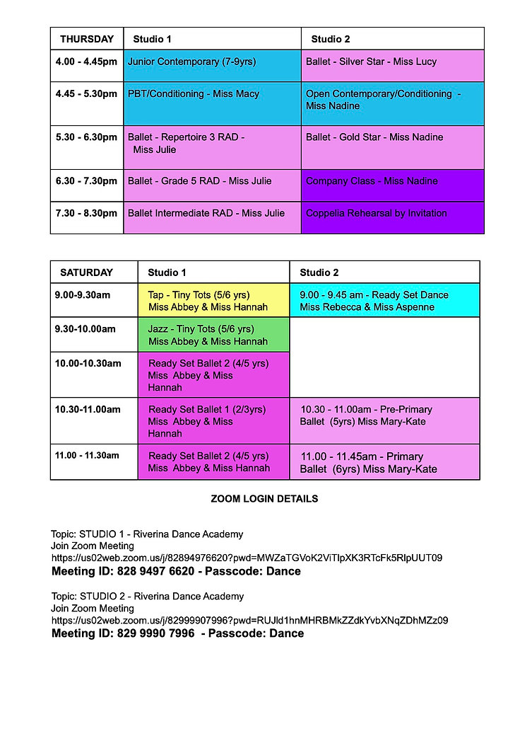 Page 2 - Riverina Dance Academy - TIMETABLE - 2021 - Term 3.jpg