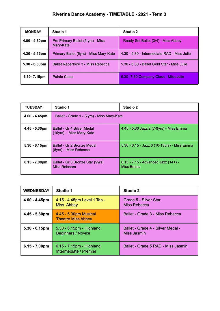 Page 1 - Riverina Dance Academy - TIMETABLE - 2021 - Term 3.jpg