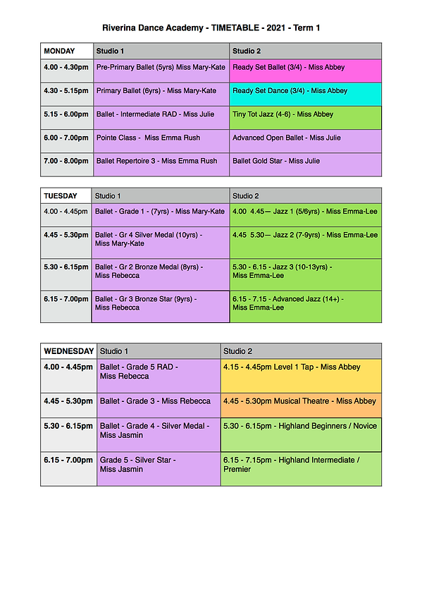 Website 4 Timetable for Term 1, January