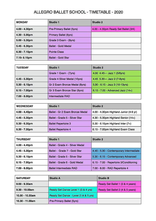 Allegro Ballet School 2020 Timetable Ter