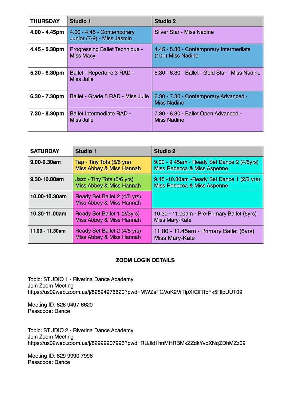 FINAL RDA Timetable for Term 1, February