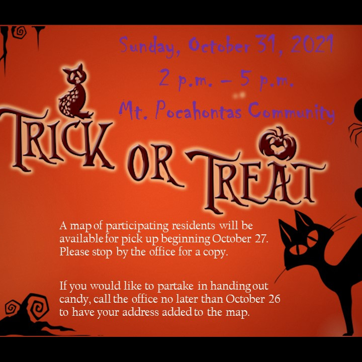 Trick Or Treat Event - Sunday October 31st, 2021