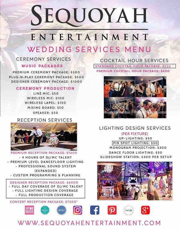 Sequoyah Entertainment Wedding Services Menu Priceguide