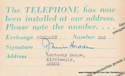 Telephone Installed Cortachy Manse (1954)