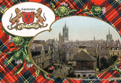 Schoolhill and Marischal College, Aberdeen with Stewart tartan.j