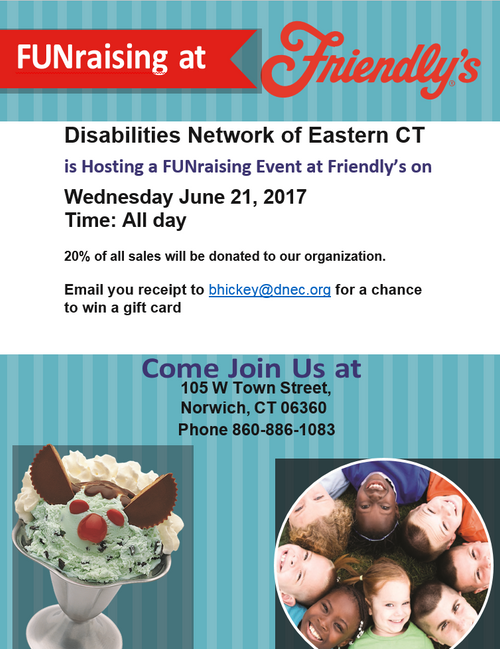 DNEC hosting a FUNraising Event at Friendly's on June 21st, Wednesday.