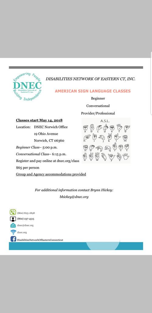 ASL Classes starting soon!