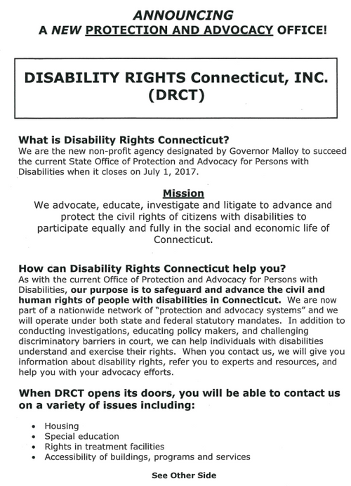 Was Office of Protection and Advocacy for Persons with Disabilities (OPA)...  Now Disability Rights