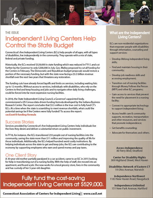 Independent Living Centers Help Control the State Budget