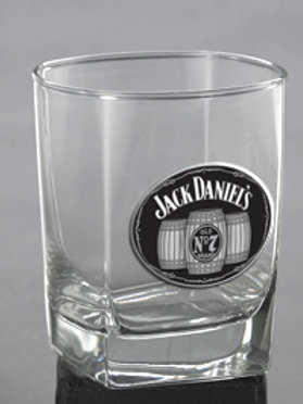 "JACK DANIEL'S ""DOUBLE OLD FASHIONED"" GLASS W/METAL MEDALLION"