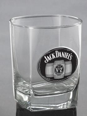 "JACK DANIEL'S ""DOUBLE OLD FASHIONED"" GLASS W/METAL MEDALLION"