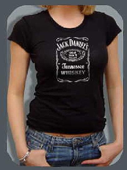 "Women's Bottle Label ""BLING"" Tee Shirt (silver foil print)"