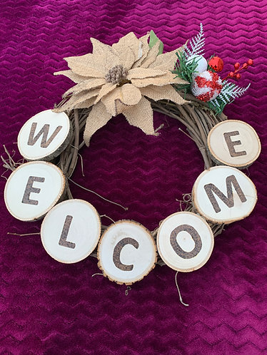 Wreath with welcome message