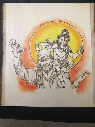 Sai and Lord Ganesh Plaque with Colo