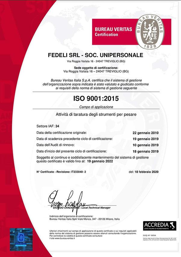 Certificato Pese