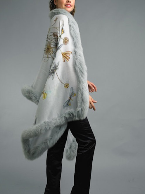 Cashmere/Silk blend Shawls with Fox Fur Trim