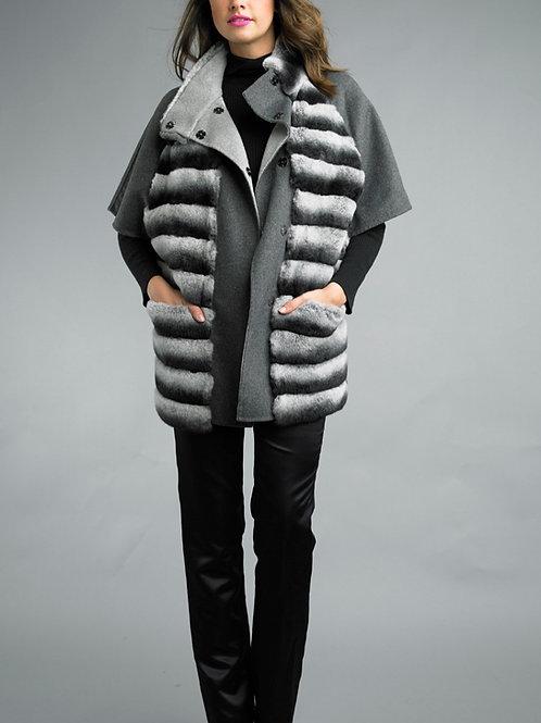 Cashmere Blend Rex Fur Applique