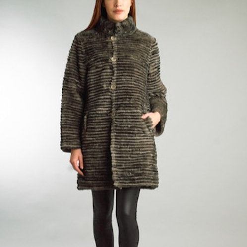 Reversible Stripped Rabbit Long Coat