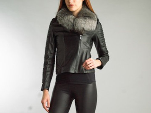 Leather Biker Jacket With Fox Fur Collar