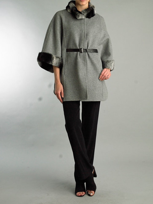 Cashmere/wool blend belted long cape with Rex Rabbit fur collar