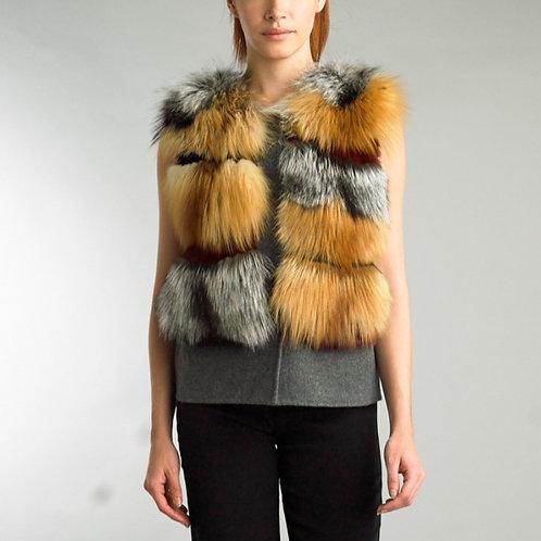 cropped cashmere fox fur vest