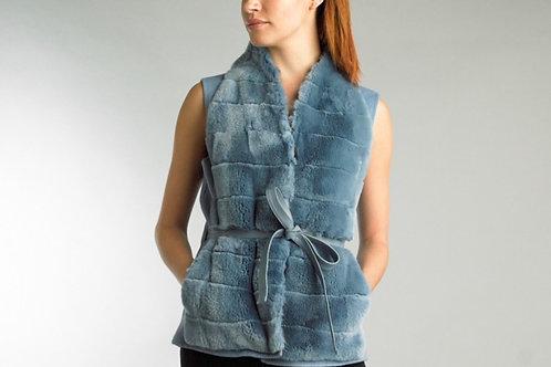 Long Cashmere Blend Leather Belt Rabbit Fur Vest