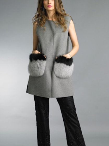 Wool / Cashmere Blend Long Vest Fur Pockets