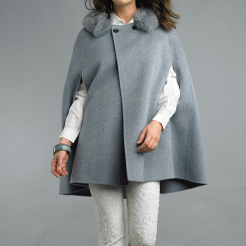 Buttoned Cashmere/Wool Blend Cape with Detachable Fox Fur Collar
