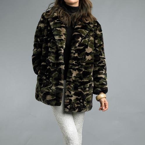 Camouflage Rex Fur Long Jacket