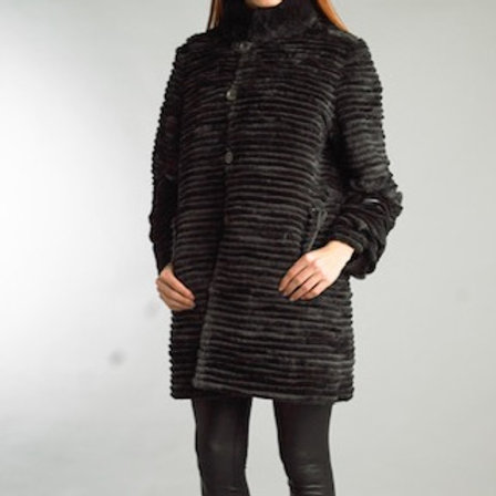 Light Weight Reversible Rabbit Stripped Long Coat