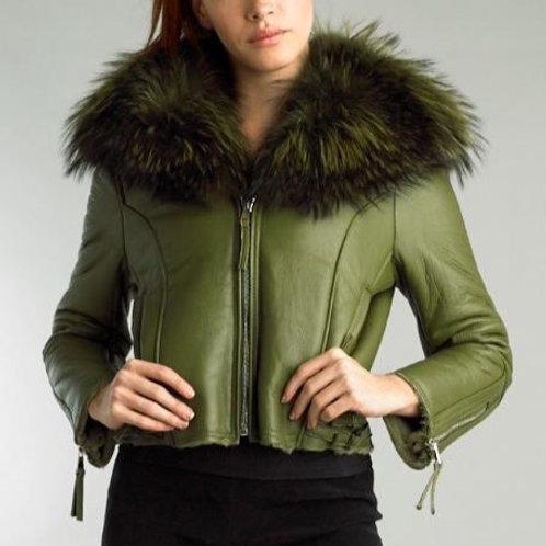 Leather Biker Jacker With Fox Fur Collar