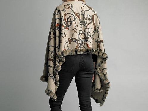 Reversible fur trimmed equestrian design Cashmere/Silk Blend shawl
