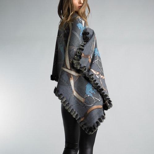 Reversible fur trim equestrian design cashmere/ wool blend shawl