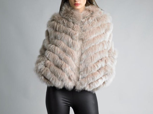 Lightweight Reversible Fox Fur Applique on Silk Bomber Jacket