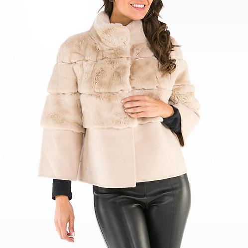 Cashmere Blend Rex Fur Jacket