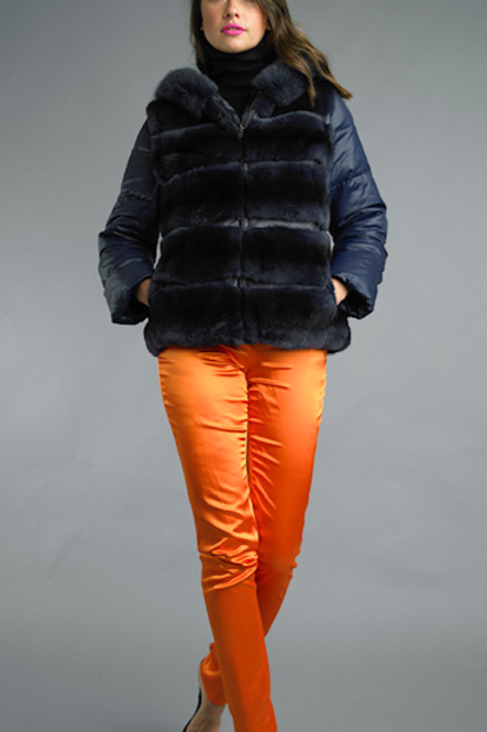 Hooded Detachable Sleeve Rex Fur Jacket