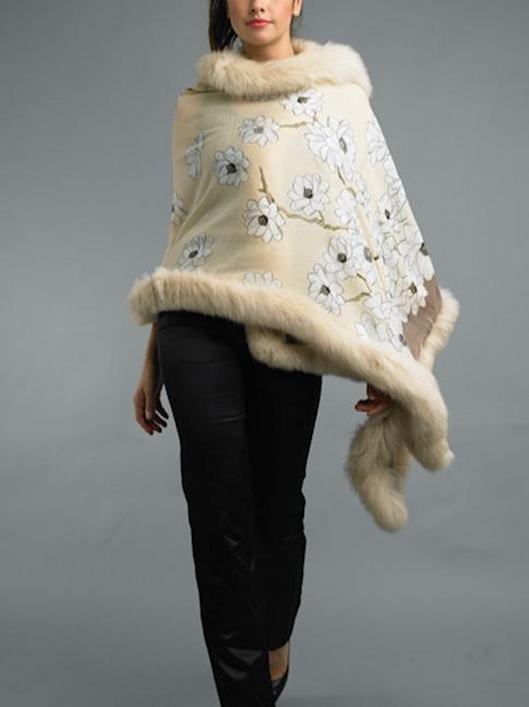 Cashmere/Silk blend Shawls with Fox Fur Trim