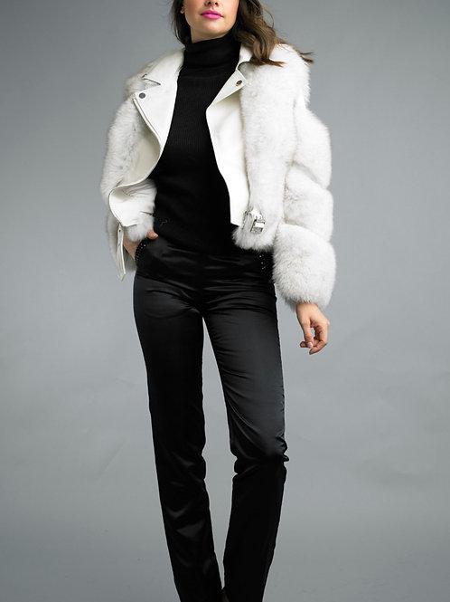 Lamb Leather Fox Fur Appliqué Biker Jacket