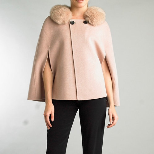 Buttoned cashmere/wool blend capelet with detachable fox fur collar