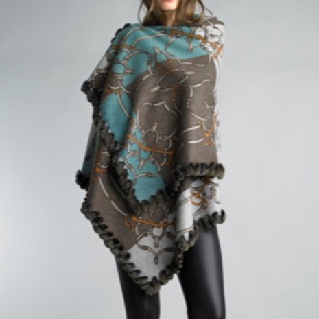 Reversible fur trimmed equestrian cashmere/wool blend shawl