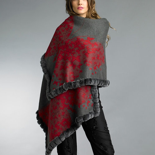 Reversible fur trim cashmere/silk blend Butterfly shawl