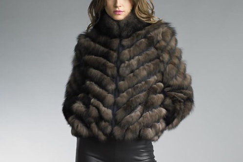 Lightweight Reversible Fox Fur Applique on Silk Bomber Jacket