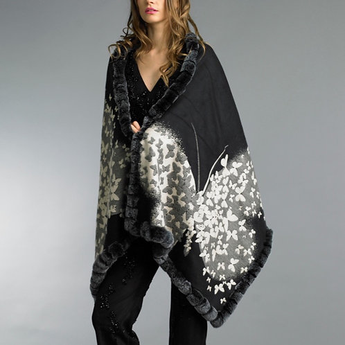 Reversible fur trim cashmere/silk blend Butterfly shawl
