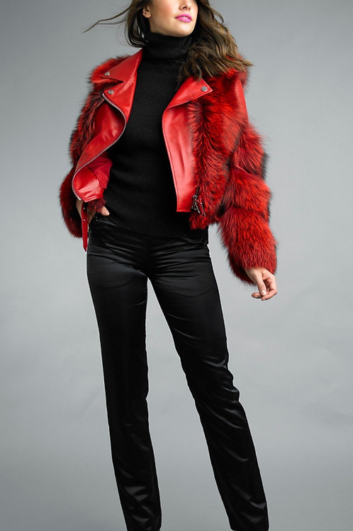 Lamb Leather Fox Fur Appliqué Biker Jacket