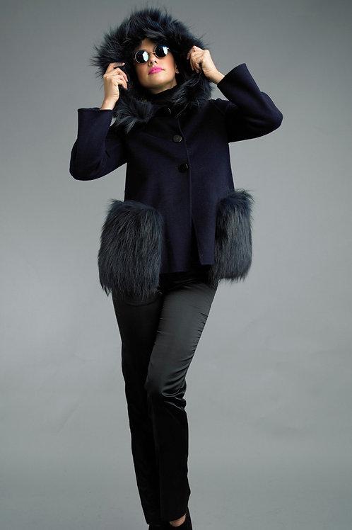 Wool / Cashmere Blend Hooded Fox Fur Appliqué Jacket
